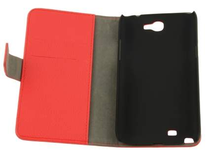 Samsung Galaxy Note 2 4G Synthetic Leather Wallet Case with Stand - Red