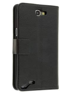 Synthetic Leather Wallet Case with Stand for Samsung Galaxy Note 2 4G - Classic Black Leather Wallet Case