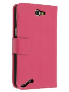 Synthetic Leather Wallet Case with Stand for Samsung Galaxy Note 2 4G - Pink Leather Wallet Case