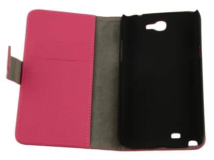Samsung Galaxy Note 2 4G Synthetic Leather Wallet Case with Stand - Pink