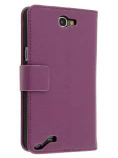 Synthetic Leather Wallet Case with Stand for Samsung Galaxy Note 2 4G - Purple Leather Wallet Case