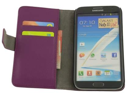 Samsung Galaxy Note 2 4G Synthetic Leather Wallet Case with Stand - Purple