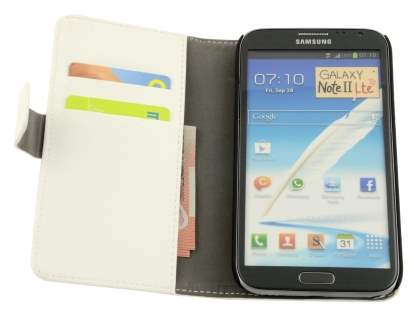 Samsung Galaxy Note 2 4G Synthetic Leather Wallet Case with Stand - Pearl White