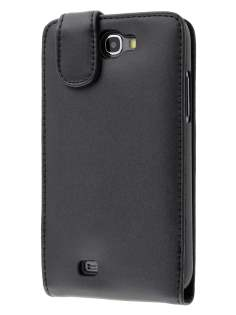 Genuine Leather Flip Case for Samsung Galaxy Note 2 4G - Classic Black Leather Flip Case