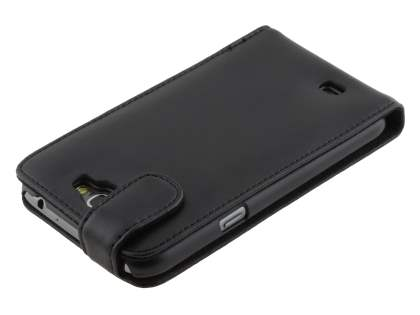 Genuine Leather Flip Case for Samsung Galaxy Note 2 4G - Classic Black
