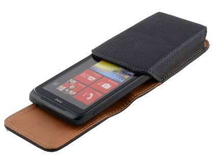 Textured Synthetic Leather Vertical Belt Pouch for HTC 7 Trophy