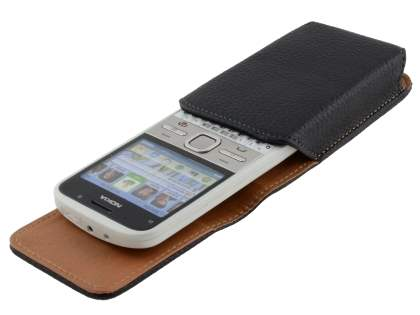 Textured Synthetic Leather Vertical Belt Pouch for Nokia E5