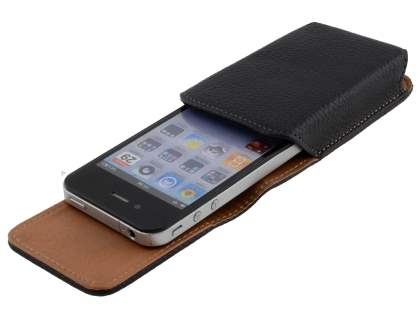 Textured Synthetic Leather Vertical Belt Pouch for iPhone 4/4S