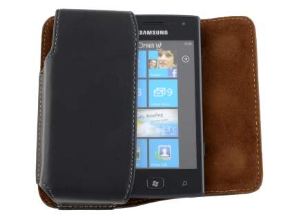 Extra-tough Genuine Leather ShineColours belt pouch for Samsung Omnia W I8350