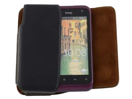 Extra-tough Genuine Leather ShineColours belt pouch for HTC Rhyme