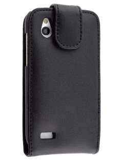 Genuine Leather Flip Case for HTC Desire X - Black Leather Flip Case