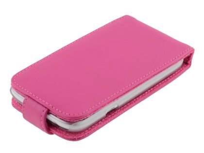 HTC Desire X Genuine Leather Flip Case - Pink