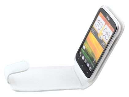 HTC Desire X Genuine Leather Flip Case - Pearl White