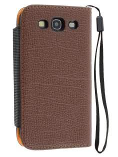 Stylish Synthetic Leather Wallet Case with Strip for Samsung I9300 Galaxy S3 - Dark Brown Leather Wallet Case