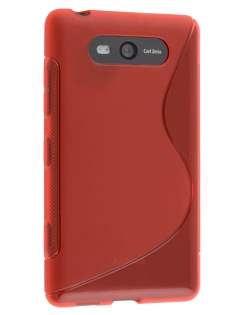 Wave Case for Nokia Lumia 820 - Frosted Red/Red Soft Cover