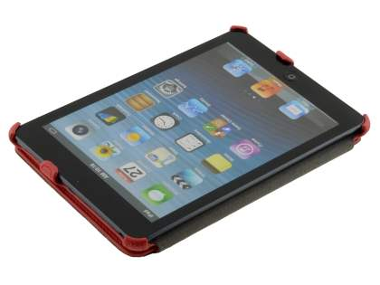 Premium iPad mini Slim Synthetic Leather Flip Case with Multi-Angle Tilt Stand - Red