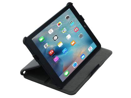 Premium iPad mini Slim Synthetic Leather Flip Case with Multi-Angle Tilt Stand - Classic Black