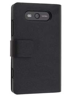 Nokia Lumia 820 Slim Genuine Leather Portfolio Case - Classic Black