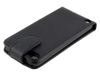 Synthetic Leather Flip Case for iPod Touch 5/6 - Classic Black
