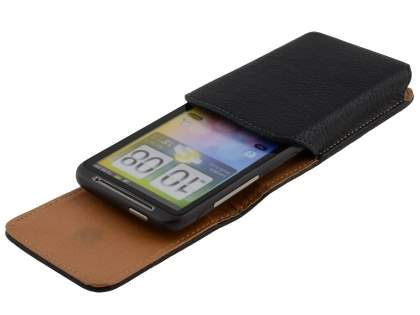 Textured Synthetic Leather Vertical Belt Pouch for HTC Desire HD