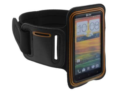 Universal Sports Arm Band for HTC One X / XL / X+ - Black/Orange Sports Arm Band