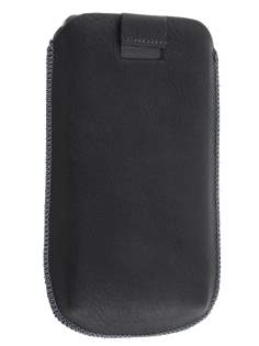 Synthetic Leather Slide-in Case with Pull-out Strap for Motorola RAZR HD 4G XT925 - Classic Black Leather Slide-in Case