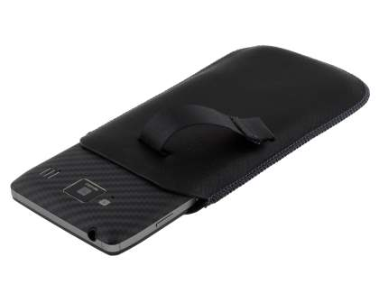 Synthetic Leather Slide-in Case with Pull-out Strap for Motorola RAZR HD 4G XT925 - Classic Black