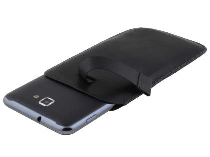 Synthetic Leather Slide-in Case with Pull-out Strap for Samsung Galaxy Note - Classic Black