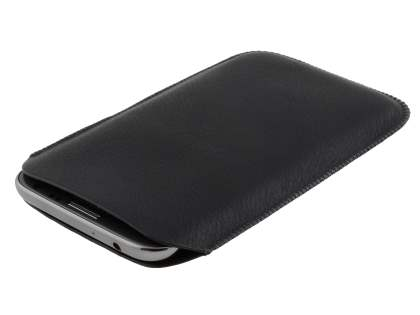 Synthetic Leather Slide-in Case with Pull-out Strap for Samsung Galaxy Note 2 4G - Classic Black
