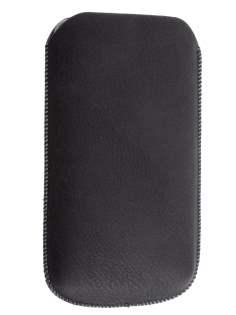 Synthetic Leather Slide-in Case with Pull-out Strap for HTC Titan - Classic Black Leather Slide-in Case
