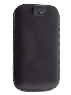Synthetic Leather Slide-in Case with Pull-out Strap for HTC Titan II 4G - Classic Black
