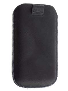 Synthetic Leather Slide-in Case with Pull-out Strap for HTC Sensation XL - Classic Black