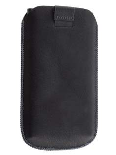 Synthetic Leather Slide-in Case with Pull-out Strap for Nokia Lumia 900 - Classic Black