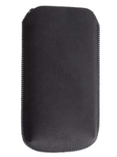 Synthetic Leather Slide-in Case with Pull-out Strap for Sony Xperia S LT26i - Classic Black Leather Slide-in Case