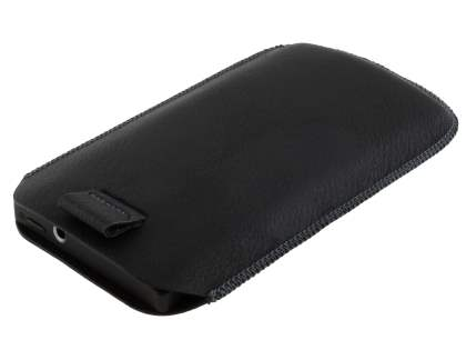 Synthetic Leather Slide-in Case with Pull-out Strap for Sony Xperia S LT26i - Classic Black