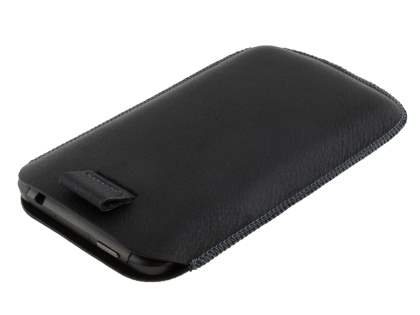 Synthetic Leather Slide-in Case with Pull-out Strap for HTC Titan - Classic Black