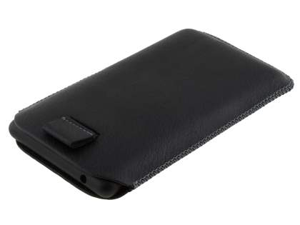 Synthetic Leather Slide-in Case with Pull-out Strap for Nokia Lumia 820 - Classic Black