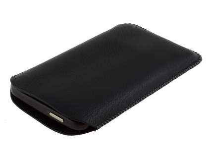 Synthetic Leather Slide-in Case with Pull-out Strap for HTC Desire HD - Classic Black