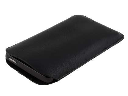 Synthetic Leather Slide-in Case with Pull-out Strap for HTC HD7 - Classic Black