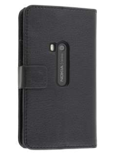 Synthetic Leather Wallet Case with Stand for Nokia Lumia 920 - Classic Black Leather Wallet Case