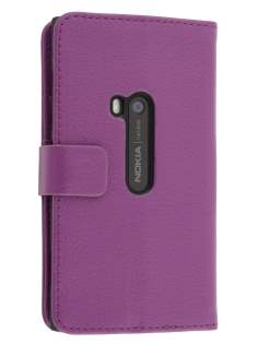 Synthetic Leather Wallet Case with Stand for Nokia Lumia 920 - Purple Leather Wallet Case