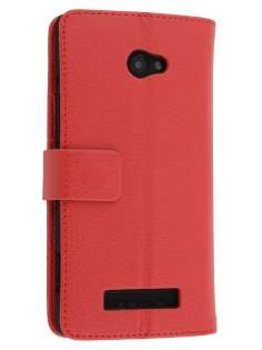 Synthetic Leather Wallet Case with Stand for HTC Windows Phone 8X - Red Leather Wallet Case