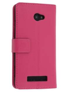 HTC Windows Phone 8X Synthetic Leather Wallet Case with Stand - Pink Leather Wallet Case