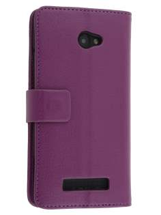 HTC Windows Phone 8X Synthetic Leather Wallet Case with Stand - Purple Leather Wallet Case