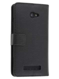 Synthetic Leather Wallet Case with Stand for HTC Windows Phone 8X - Classic Black Leather Wallet Case