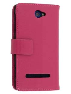 Synthetic Leather Wallet Case with Stand for HTC Windows Phone 8S - Pink Leather Wallet Case