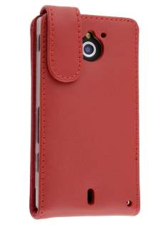 Genuine Leather Flip Case for Sony Xperia Sola MT27i - Red Leather Flip Case