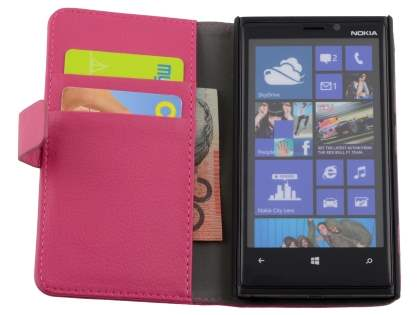 Nokia Lumia 920 Synthetic Leather Wallet Case with Stand - Pink