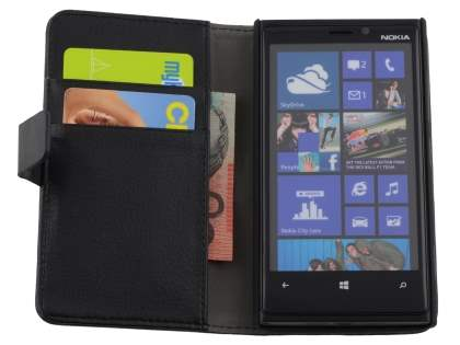 Nokia Lumia 920 Synthetic Leather Wallet Case with Stand - Classic Black