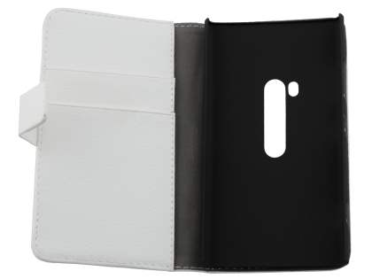 Nokia Lumia 920 Synthetic Leather Wallet Case with Stand - Pearl White